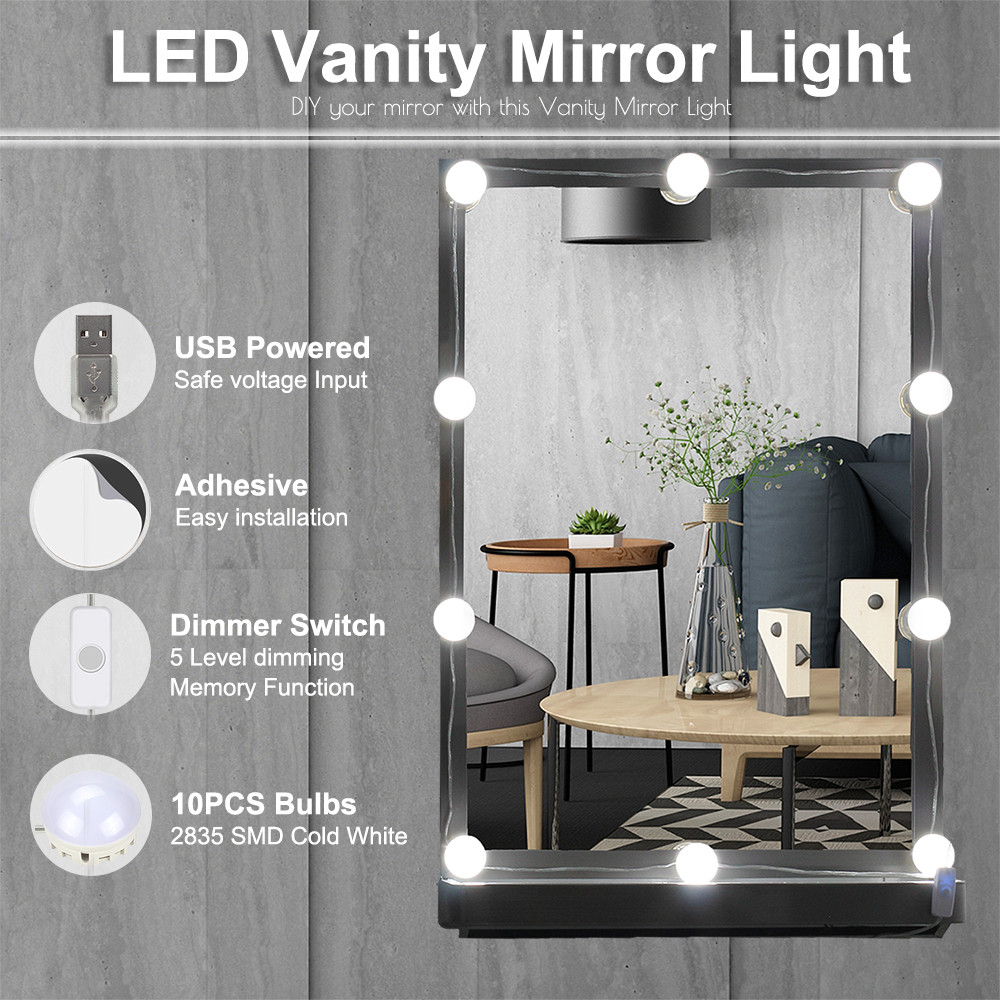 Ywxlight 10led Makeup Mirror Vanity Led Light Bulbs Kit Comestic Lamp