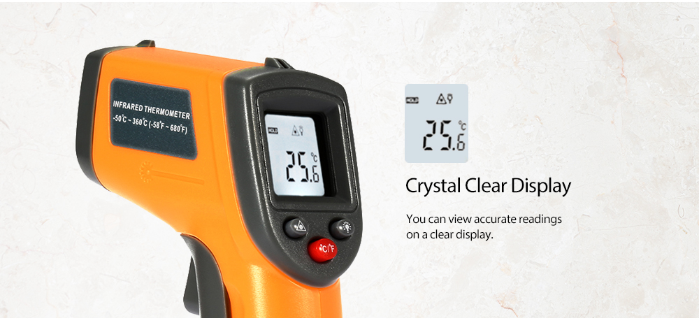 GS320 Handhold LCD Display Digital IR Infrared Thermometer- Yellow