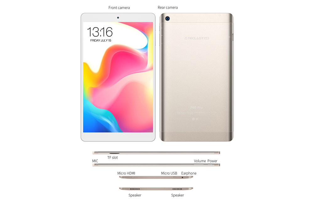 8,0 pouces Android 7.0 MTK8163 - Champagne 32 Go