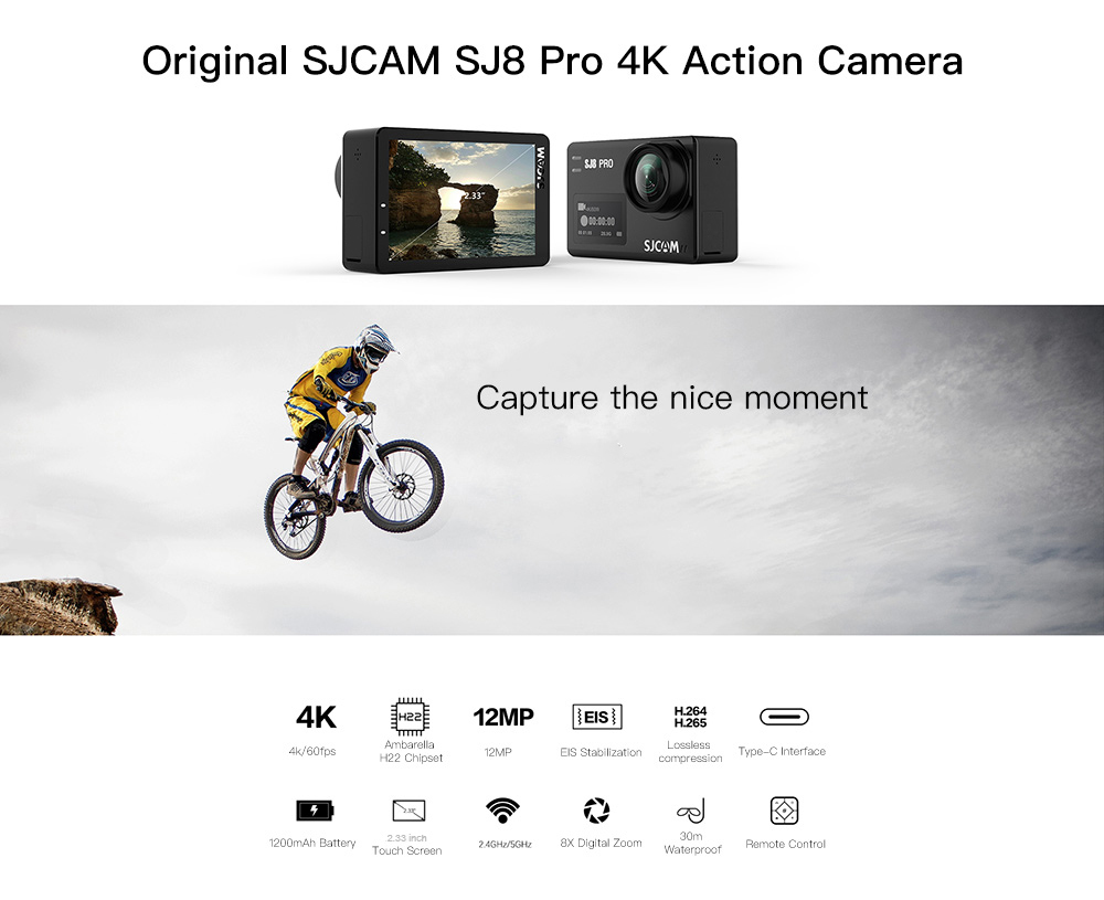 Original SJCAM SJ8 Pro 4K 60fps Dual Touch Screen WiFi Action Camera- Black Full Set