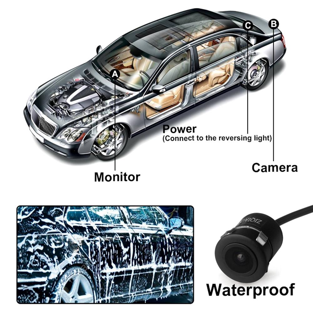 ZIQIAO ZHS - 016 HD CCD Waterproof Car Reversing Rearview Camera- Black