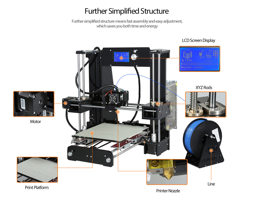 Anet A6 3d Desktop Printer Kit 17599 Free Shipping Simple Electric Generator Diagram Of And Neon Lcd Screen Display With Tf Card Off Line Printing