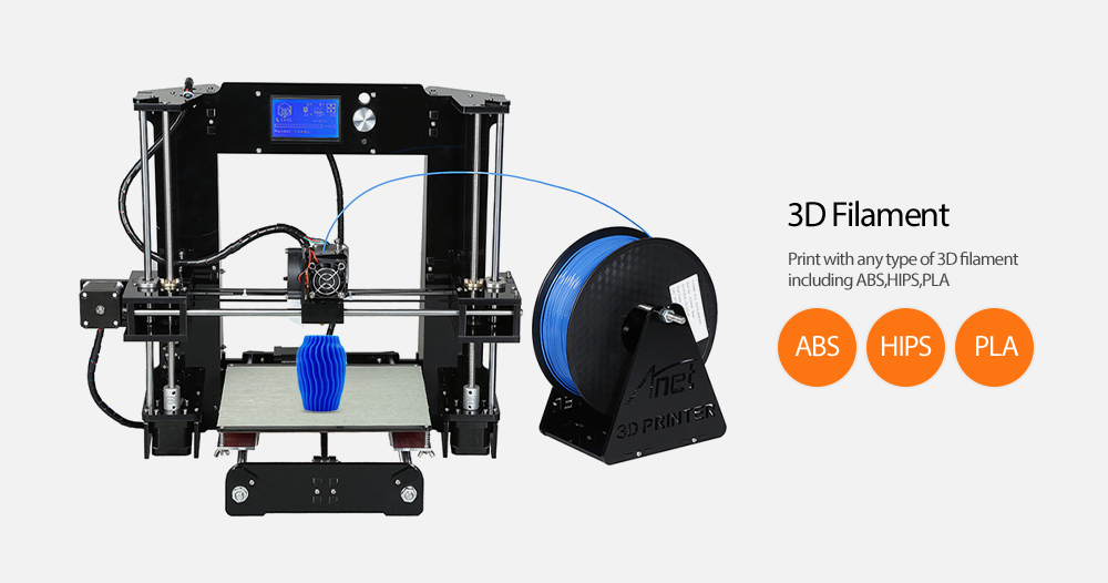 Anet A6 3D Desktop Printer Kit LCD Screen Display with TF Card Off-line Printing Function- Black EU Plug