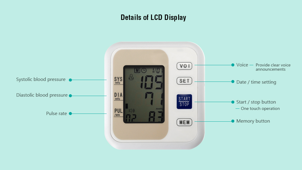 LZX - B1681 Upper Arm Style Electronic Blood Pressure Monitor Live Voice with LCD Display Systolic Diastolic Pulse- White