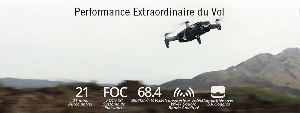 DJI Mavic Air Drone RC Photo 32MP en Panoramique Sphérique    - Blanc Voler Plus Combo/Fiche CN