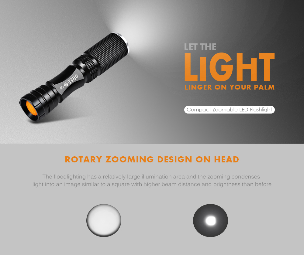 Cree Xpe Q5 600lm Zoomable Led Flashlight 1 X Aa 14500 259 Soft Start For Flash Lights Zooming Black