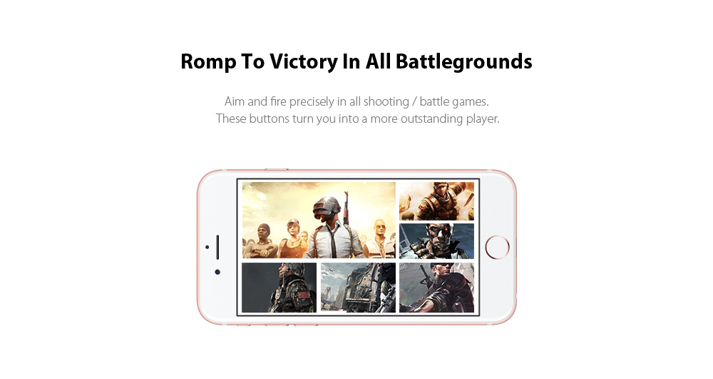 gocomma Pair of Mobile Game Controllers Sensitive Shoot and Aim Buttons for PUBG / Rules of Survival / Knives Out Phone Game Joystick - Black