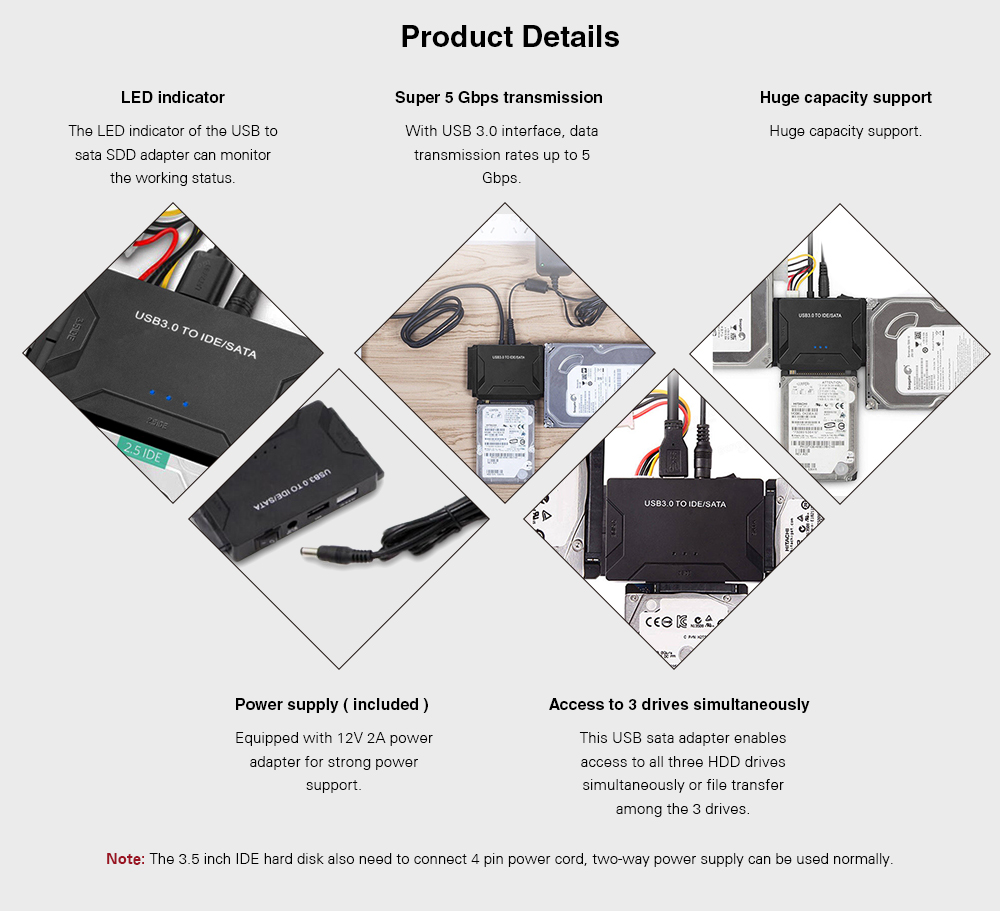 Usb30 To Ide Sata Interface Hard Disk Line Adapter 1961 Free Notebook Cdrom Usb External Drive Circuit Board 3 25 Inch 35