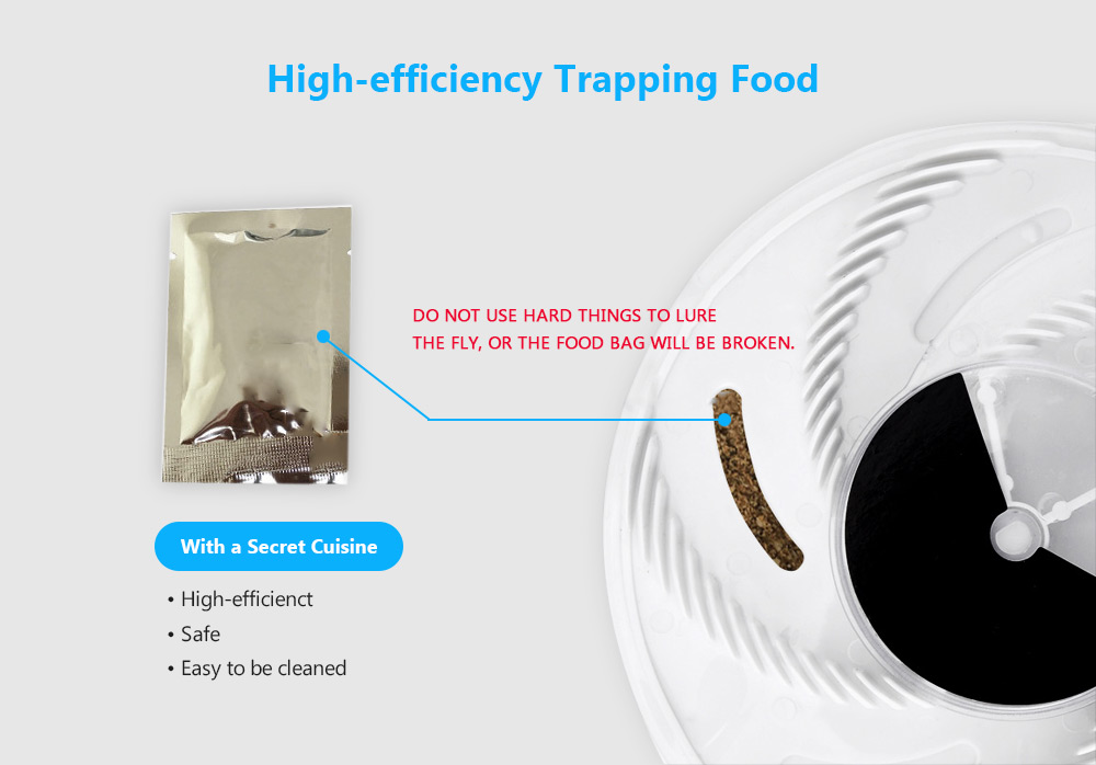 gocomma New Fashion Electric Fly Trap Device with Trapping Food- White USB Cable with US Plug