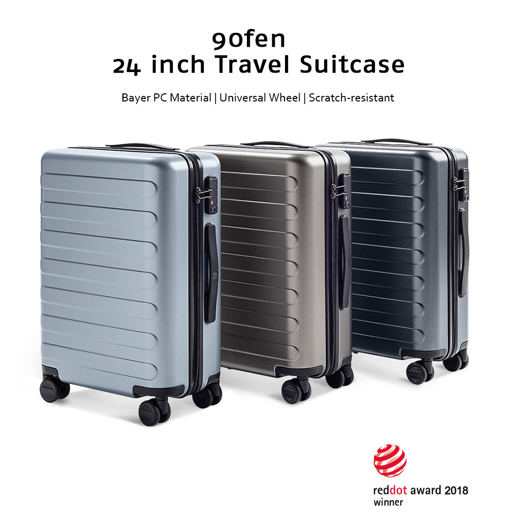 90FUN Business 24 inch Travel Suitcase with Universal Wheel from Xiaomi Youpin- Mist Blue
