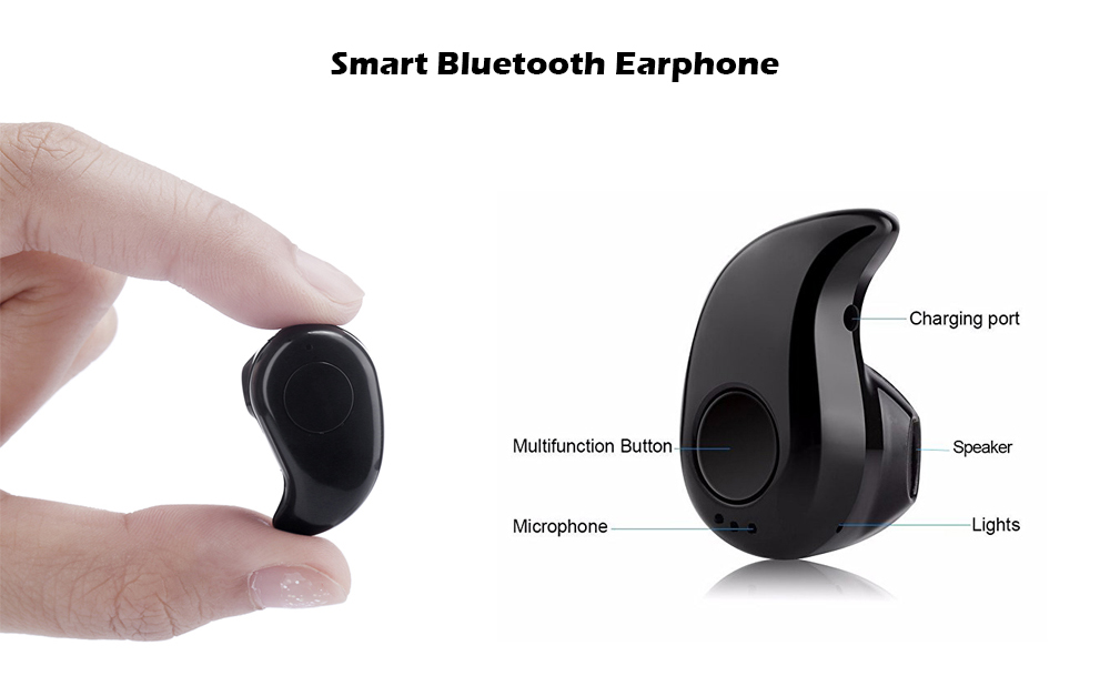 S530 Mini Wireless Bluetooth Earbuds Invisible Earphone with Microphone- Black