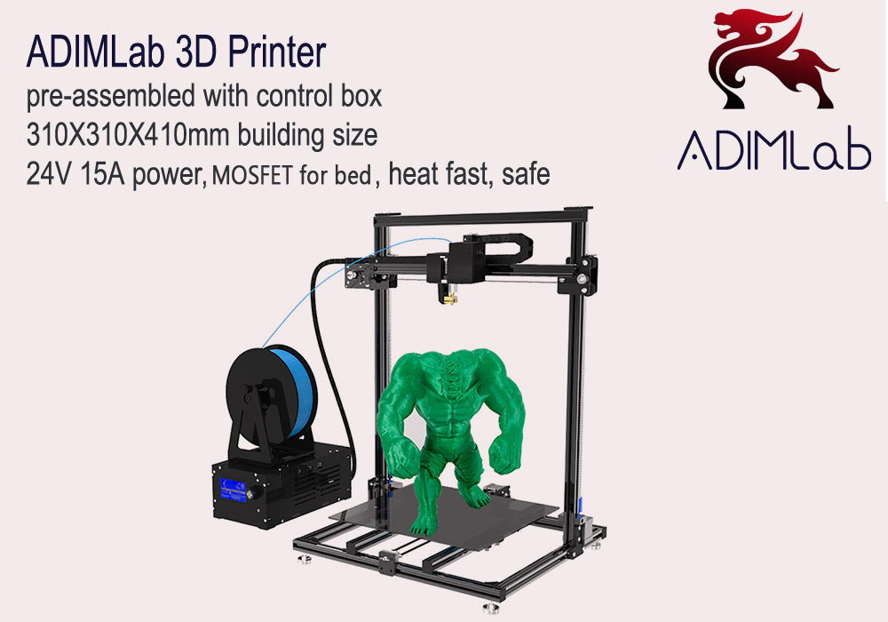 ADIMLab - gantry 3D Printer I3 Plus 310 x 310 x 410 Partially Assembled Heatbed with Glass PLA- Black EU Plug