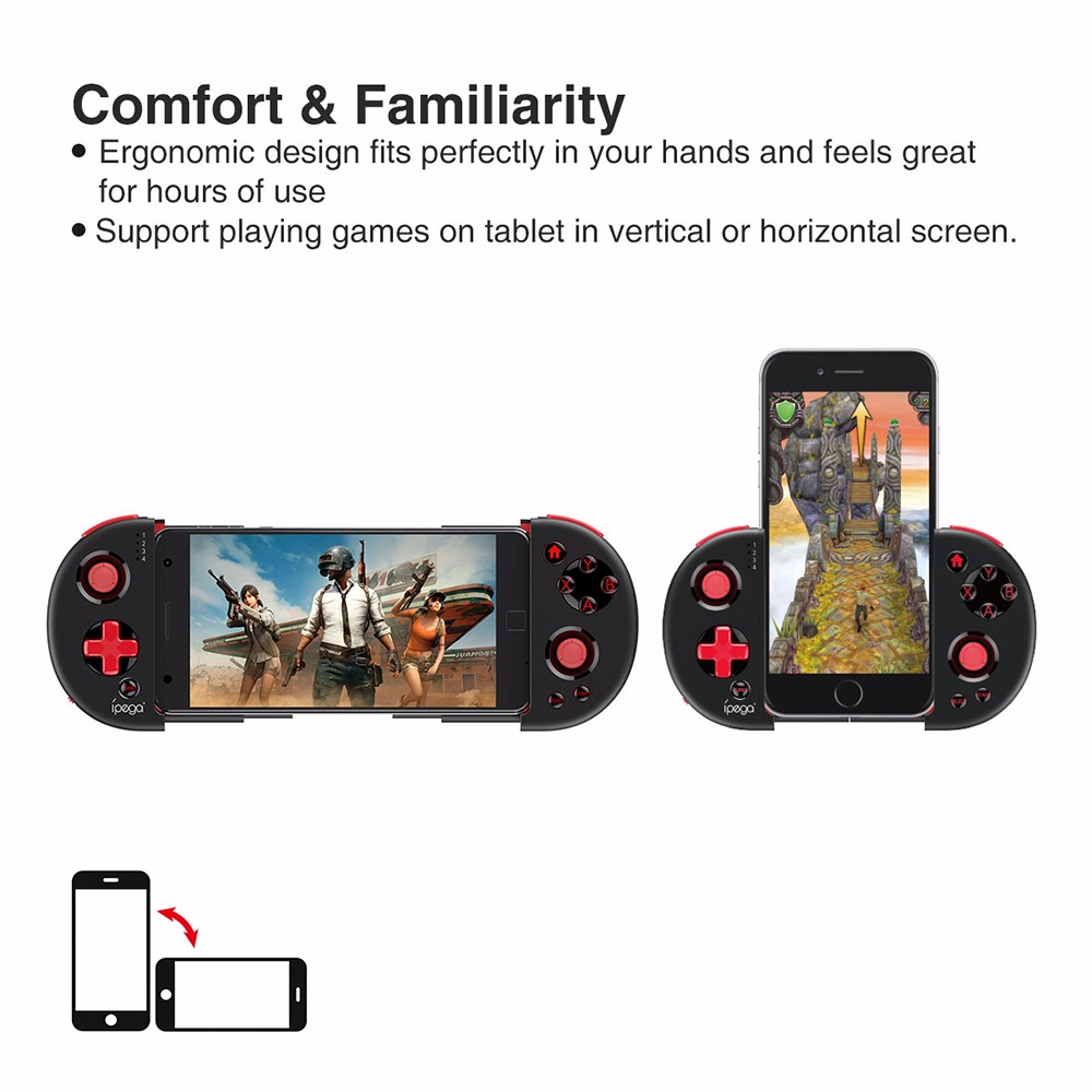 iPEGA PG - 9087 Extendable Bluetooth Wireless Controller Gamepad Joystick for iOS Android Smartphones- Black