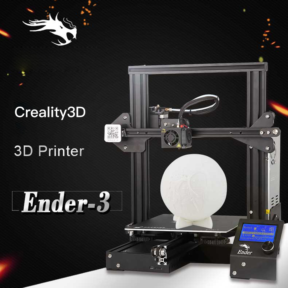 Creality3D Ender - 3 V-slot Prusa I3 DIY 3D Printer Kit 220 x 220 x 250mm dengan MK10 Extruder 1.75mm 0.4mm Nozzle- Night EU Plug