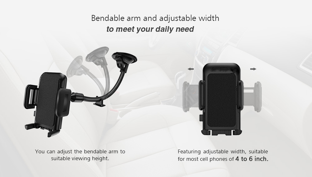 Rotary Windshield Dashboard Car Mount Phone Holder Mobile Phone Cradle with Bendable Arm- Black