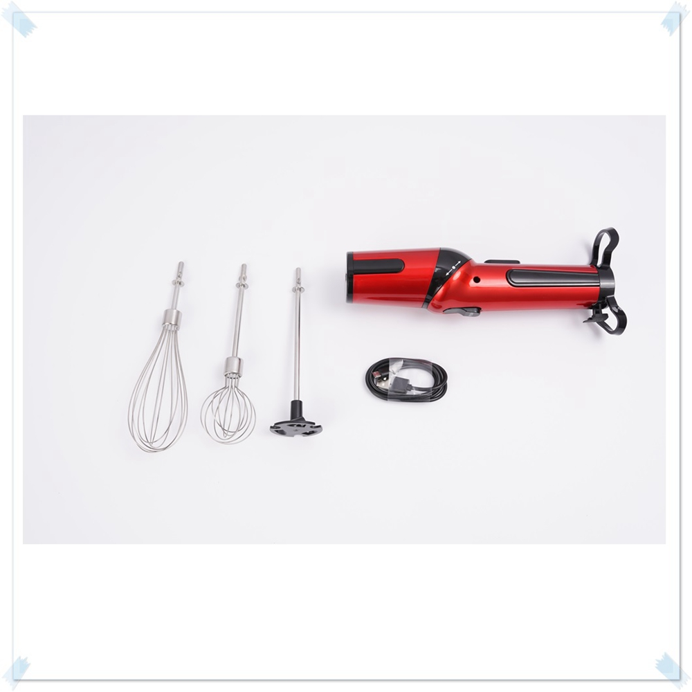 TODO Rechargeable 3in1 Mini Hand Mixer Egg Blender Whisk Cream Drink Beaters 12W- Ferrari Red