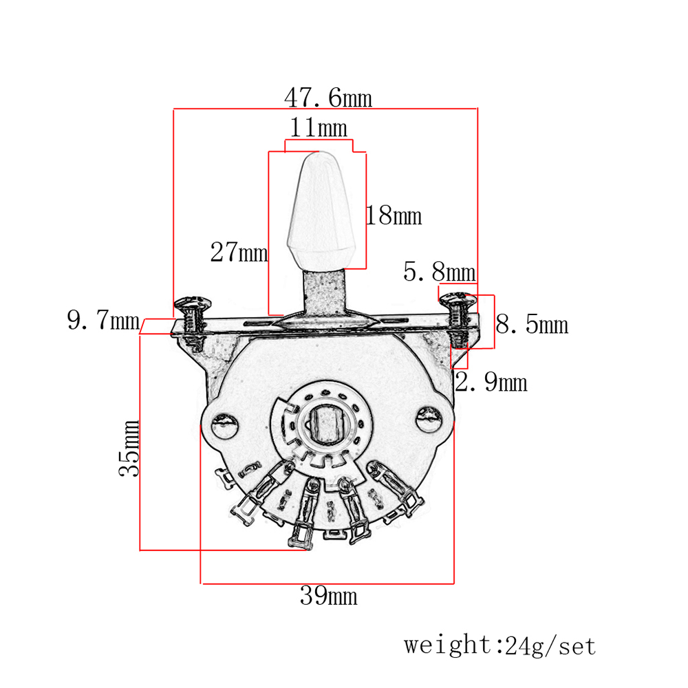 5 Way Lever Switch Selector For St Fd Electric Guitar Parts Diagram Of The Replacement Silver
