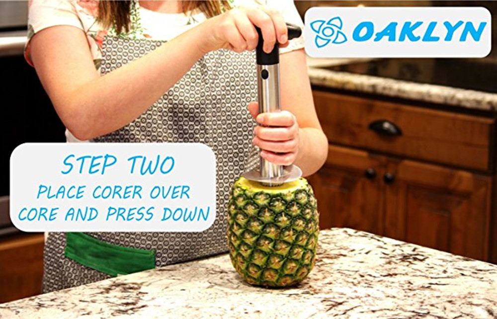 Stainless Steel Pineapple Corer Cut Peeler Quick and Easy Without Knife- Black