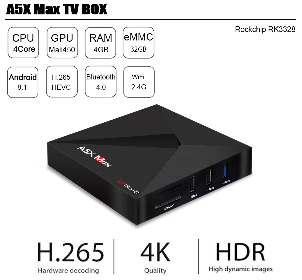 A5X MAX Android 8.1 TV Box RK3328 4GB RAM + 32GB ROM 2.4G WIFI BT4.0 Support HDR 4K- Black EU Plug