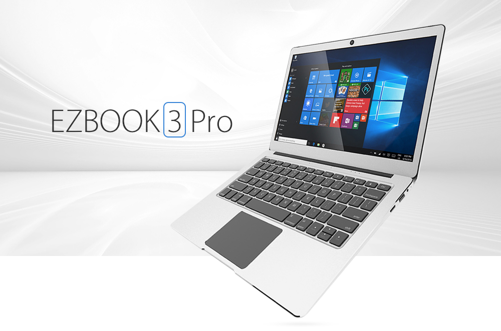 Jumper EZBOOK 3 PRO 13.3 inch Notebook Windows 10 Home Intel Apollo Lake N3450 Quad Core 1.1GHz 6GB RAM 64GB eMMC HDMI Dual WiFi- Silver 64GB + Dual WiFi