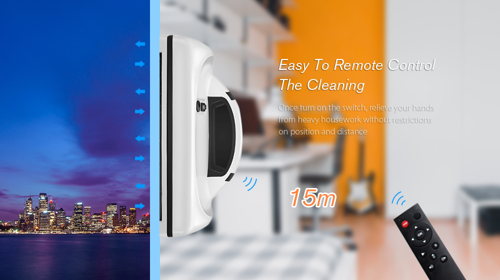 Cop Rose x6 Smart Robotic Vacuum Window Cleaner for Home Office- White EU Plug
