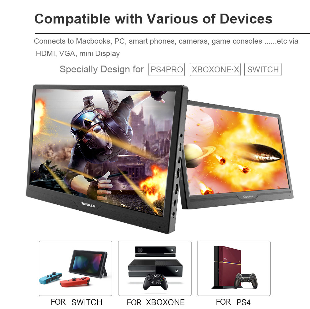 SIBOLAN S16b 15 6inch IPS 4k HDR 3840x2160 UHD Portable Monitor with HDMI  Input