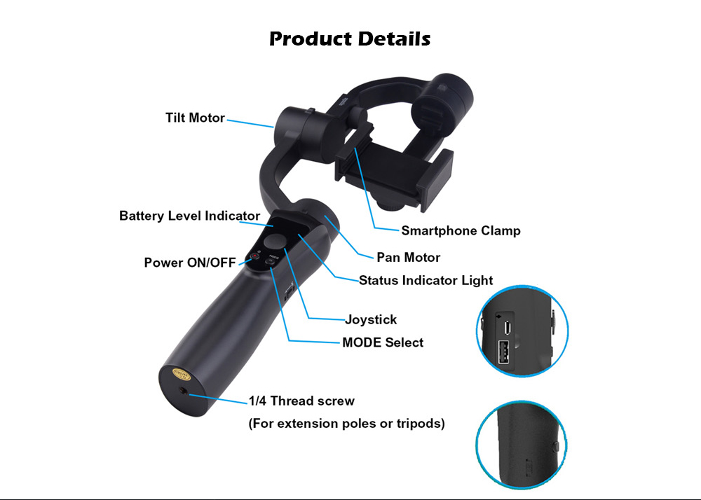 HS - S5 3-axis Handheld Bluetooth Timelapse Face Active Tracking Panoramic Gimbal Stabilizer- Black