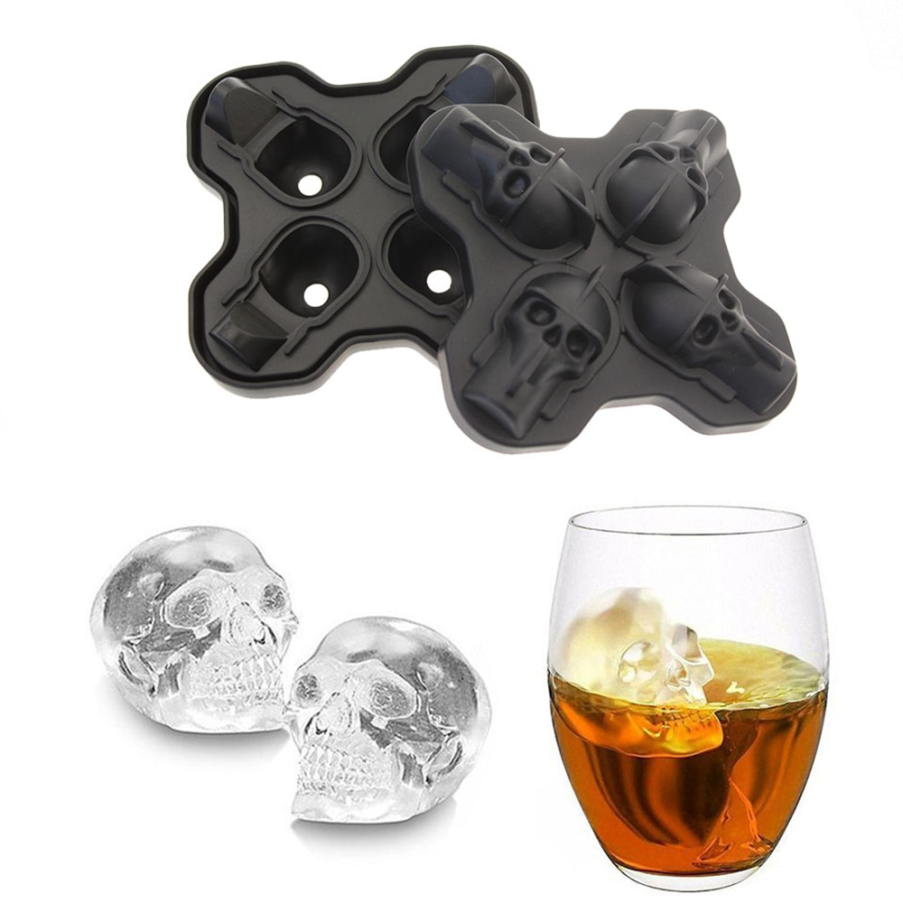 3D Silicone Ice Cube Mold Chocolate Tray with Lid Whiskey Wine Tool- Black