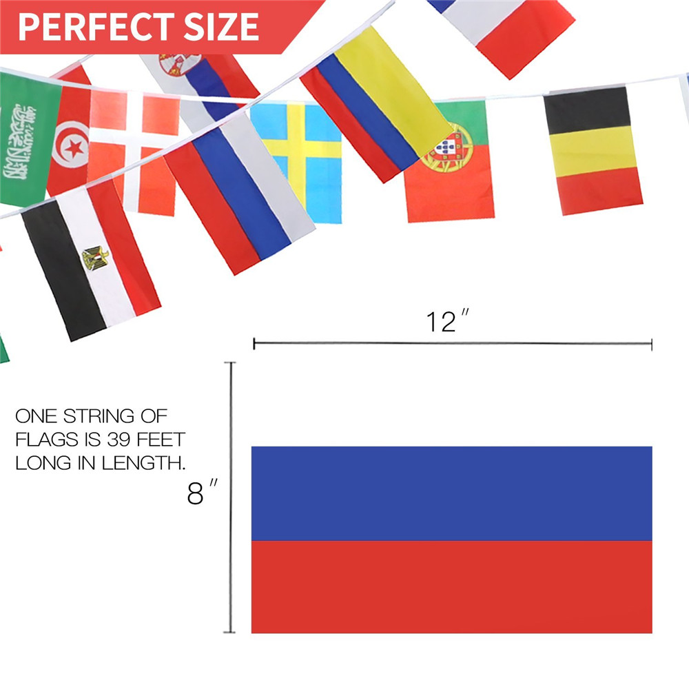 Flags Set of 32 Country Banner Decorations- Multi-A