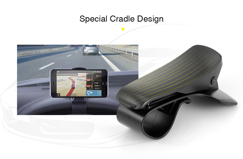gocomma Mobile Phone Stand Cradle Dashboard Car Holder Support GPS- Black