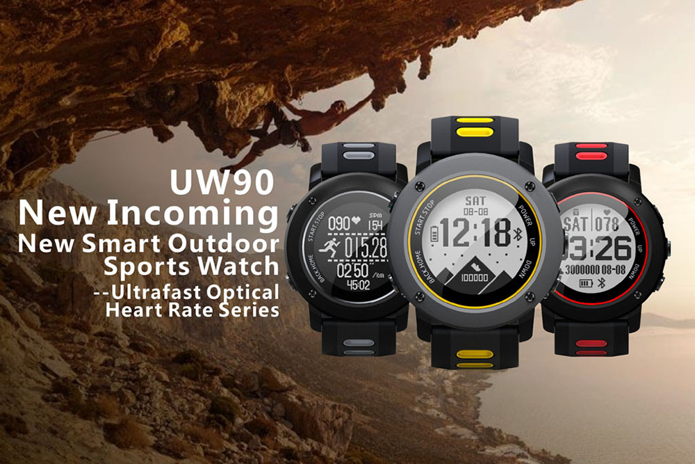 UW90 Smart Watch Outdoor Sports GPS Bluetooth 4.2 Heart Rate Monitor Fitness Compass Wristband- Bean Red