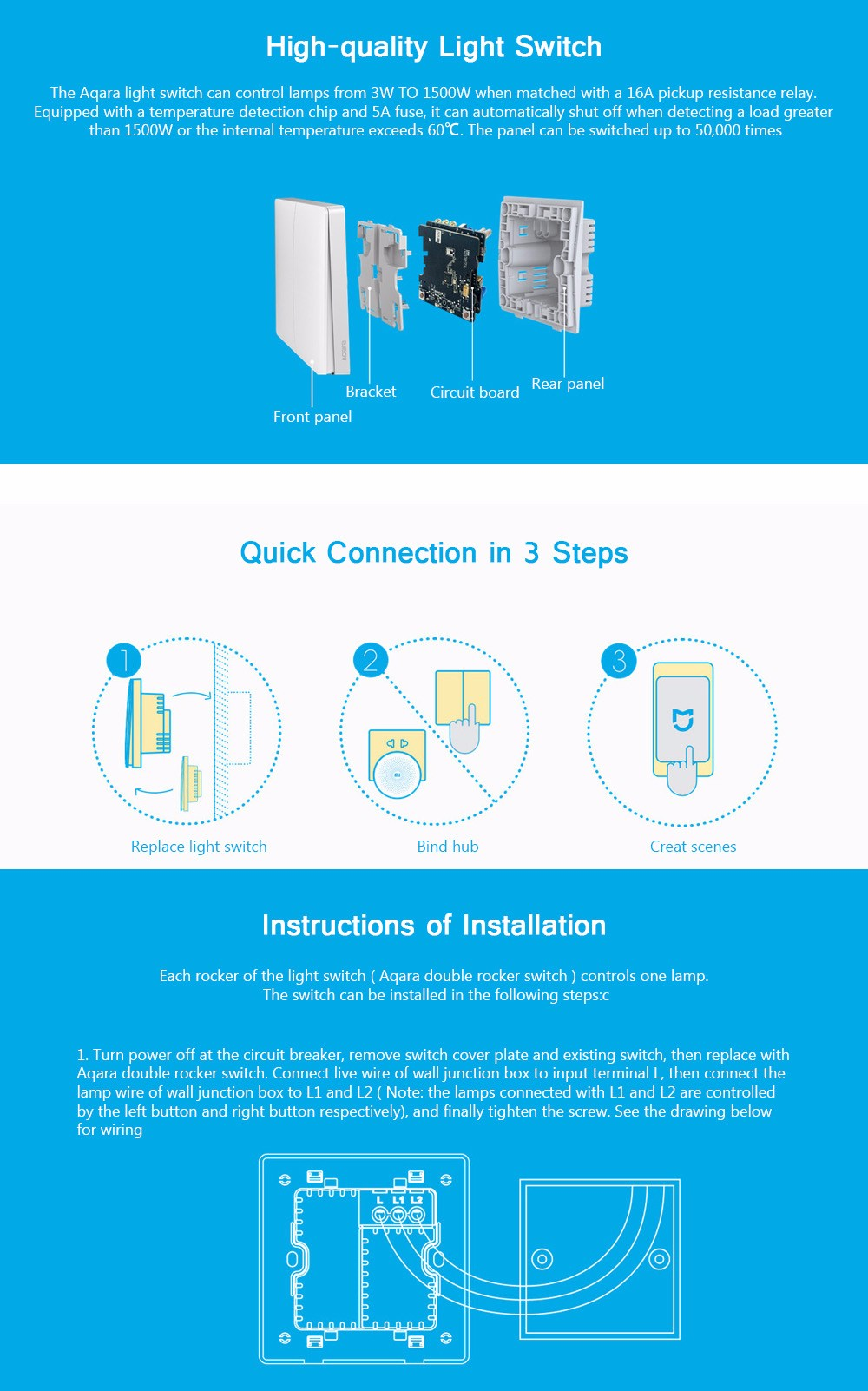 Xiaomi Aqara Wall Switch Zigbee Version 2999 Free Shipping Power Flame Wiring Diagram Electrical Light Switches Types Smart Control White Double Key