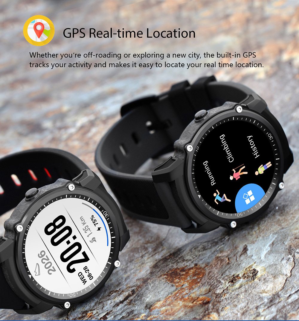 FS08 Smart Watch GPS Healthy Heart Rate Touch Screen Waterproof Sports Wristband- Black