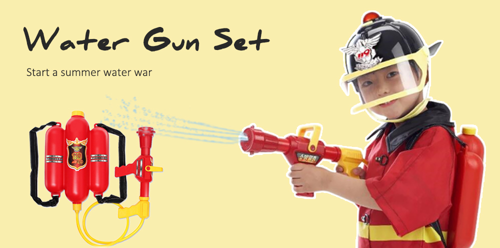 Fireman Backpack Water Gun Nozzle Summer Fun Toys for Garden / Beach / Yard / Pool- Red