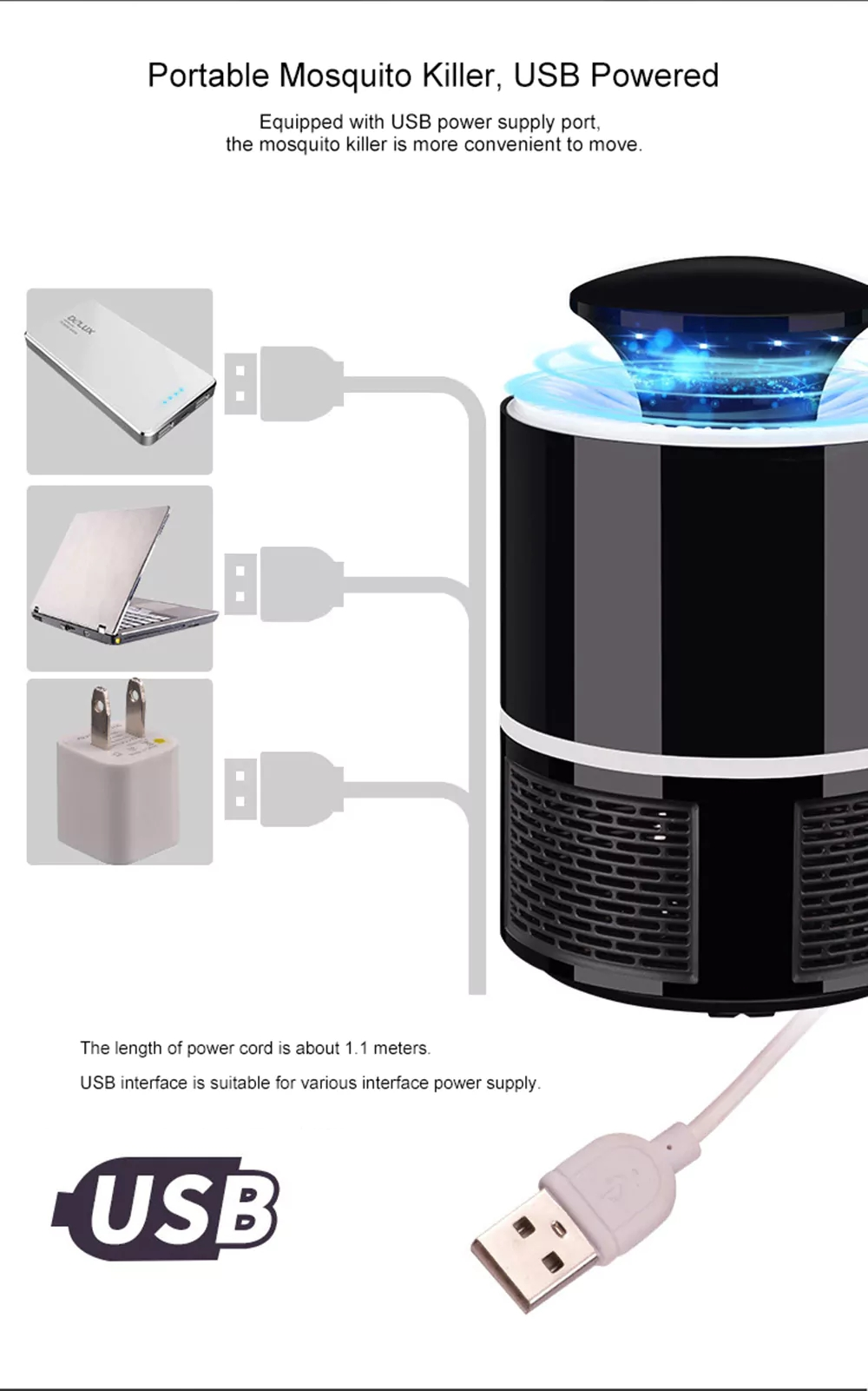 Electric Fly Zapper Mosquito Insect Killer Led Light Trap Lamp Pest Wiring Diagram Further Bug On Control Black