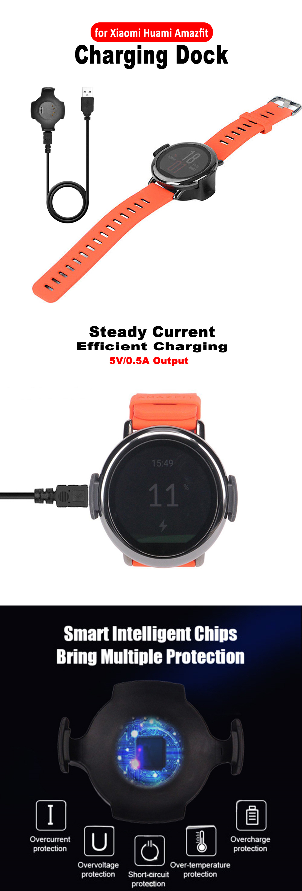 USB Fast Charger Charging Dock For  Xiaomi Huami Amazfit Smartwatch- Black