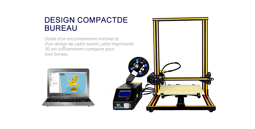 Creality3D CR - 10S Imprimante 3D- Café et Noir EU Prise Upgrade Version