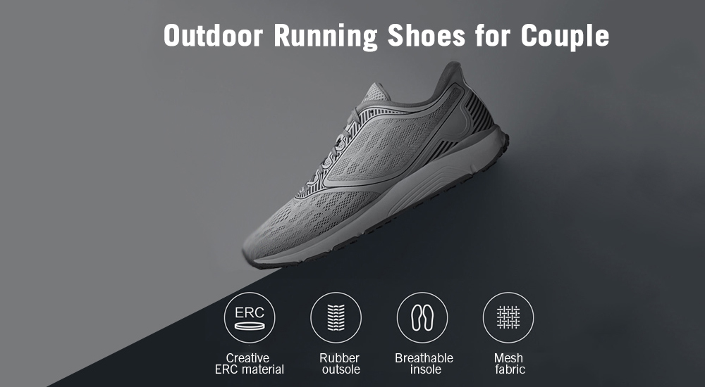Breathable Anti-slip Running Athletic Shoes for Couple from Xiaomi Youpin- Black 45