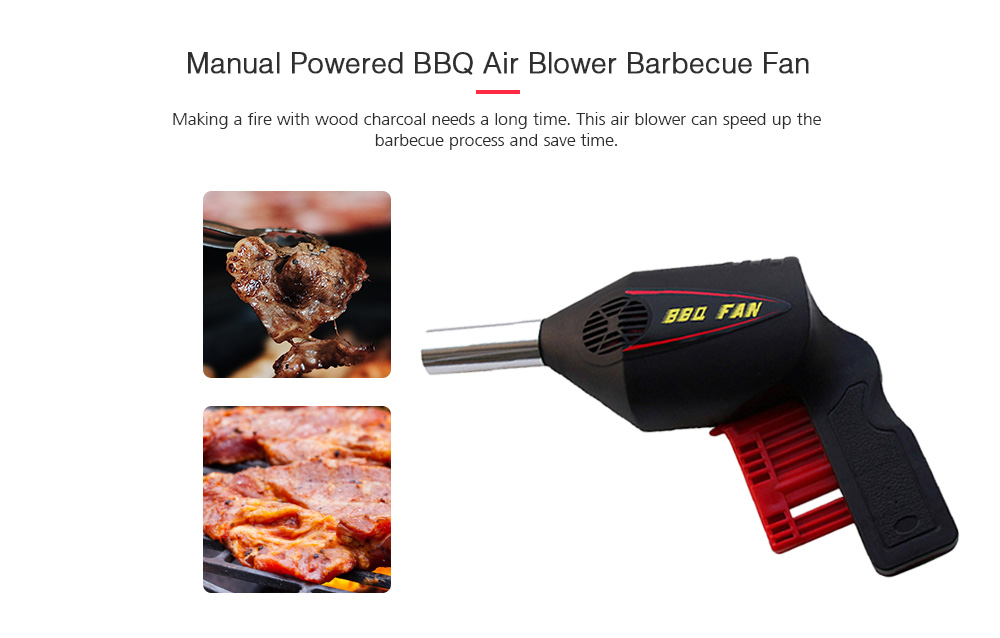 Portable Manual Powered BBQ Air Blower Barbecue Fan Camping Supplies Tools- Black