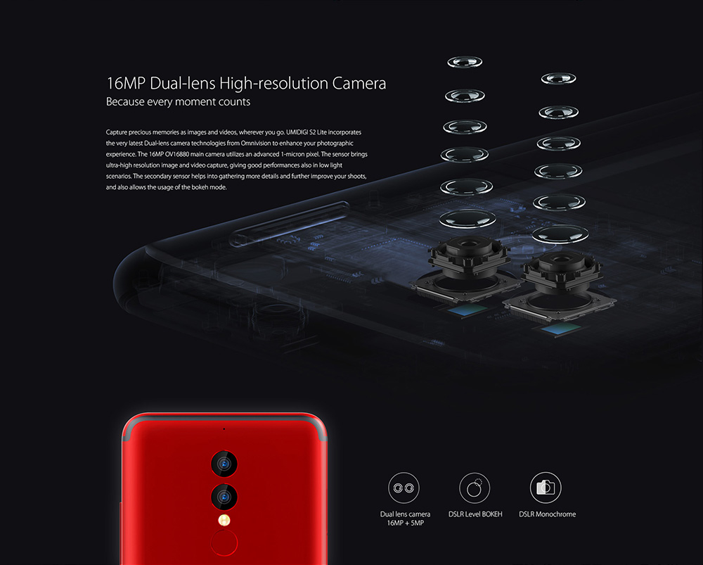 UMIDIGI S2 Lite 4G Phablet 5.99 inch Android 7.0 MTK6750T Octa Core 1.5GHz 4GB RAM 32GB ROM 5100mAh Battery 16.0MP + 5.0MP Dual Rear Cameras Fingerprint Recognition Type-C Dual Flashlights- Red
