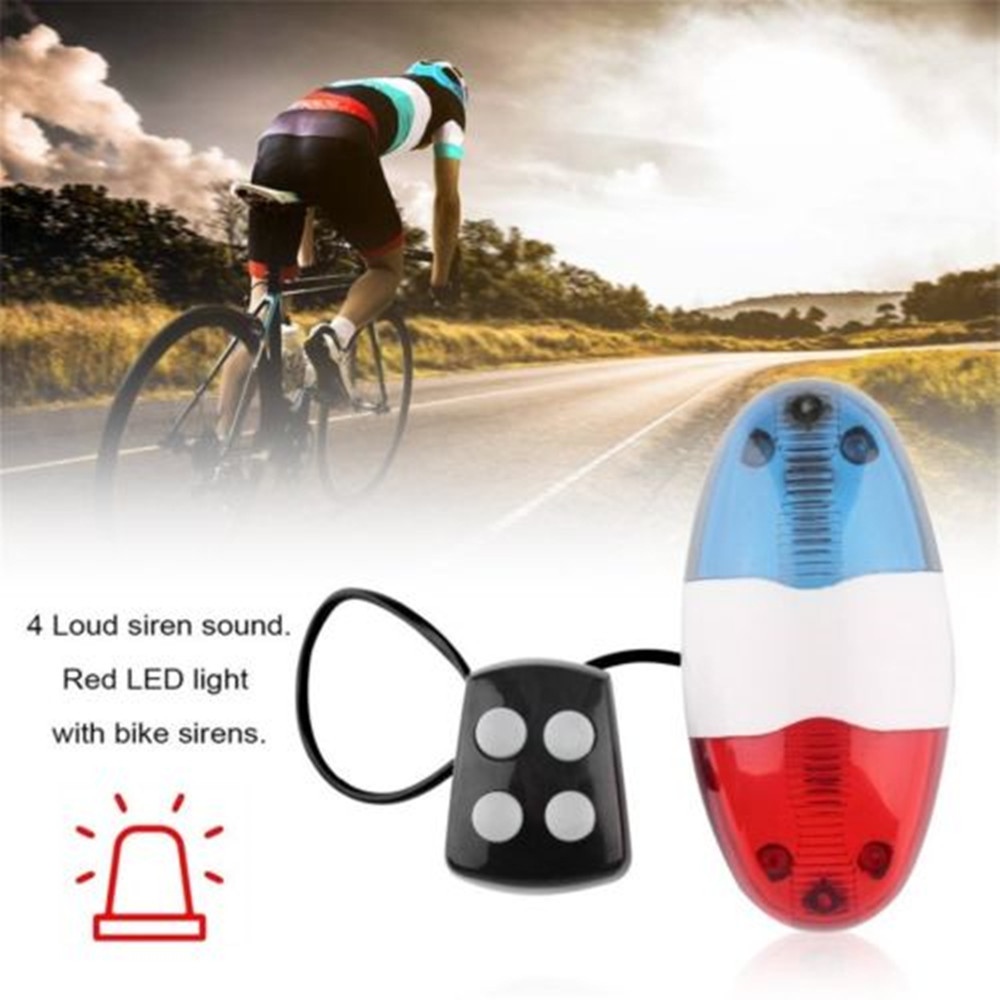 325B Bicycle 4 Sounds LED Police Car Siren Electric Light Horn Bell