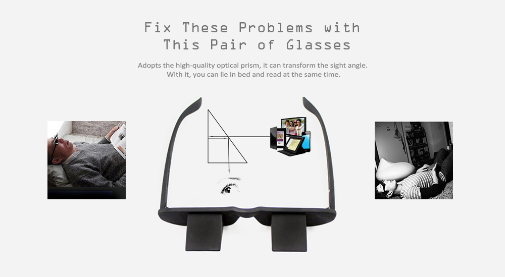 Bed Reading Watching Prism Spectacles Horizontal Lazy Eye Glasses   - Black