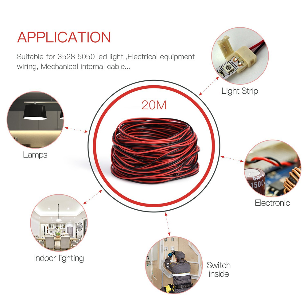 ZDM 2 Pin LED Strip Extension Cord Line  UL Listed 2468 22AWG- Multi-A 10 METERS