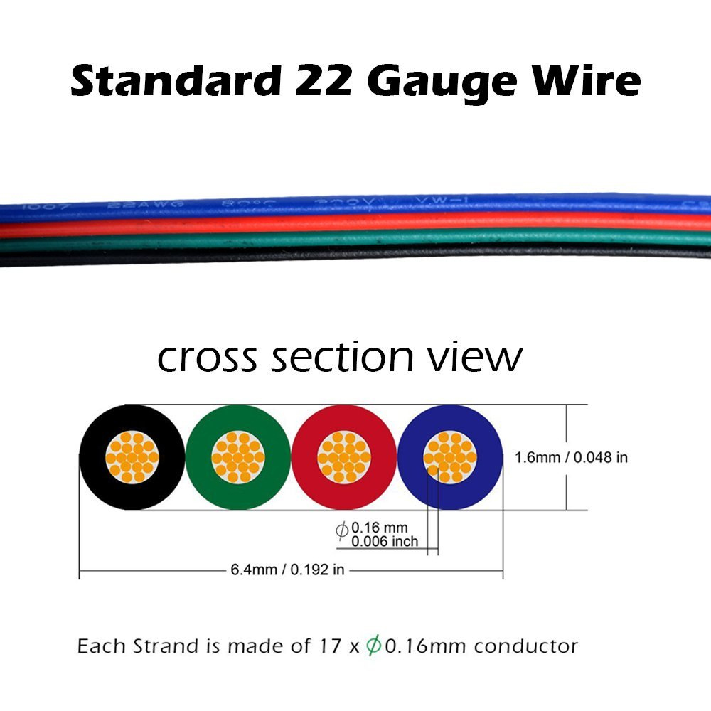 10M20M50M 4 Pin RGB LED Strip Extension Cord Line UL Listed 1007 22 AWG- Multi-A 10 Metres