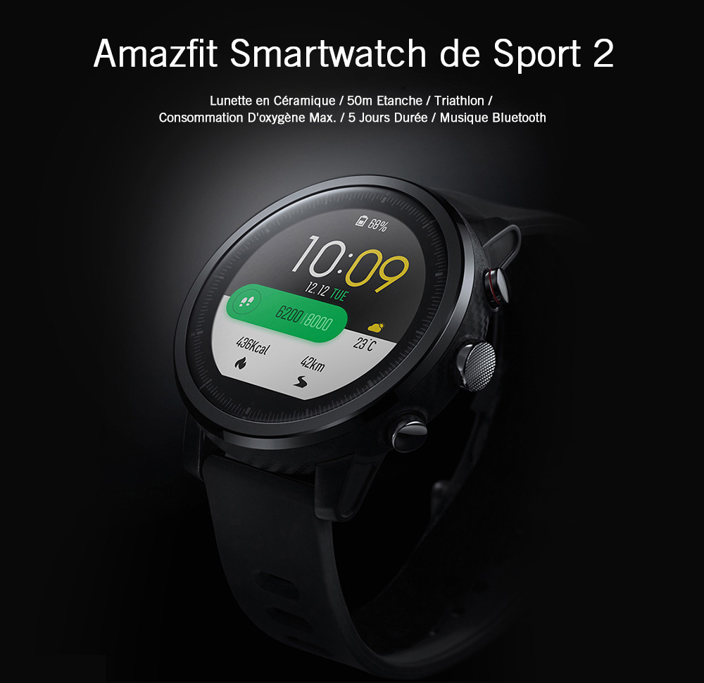 Xiaomi Amazfit Stratos / Pace 2 Montre Intelligente de Version Globale- Black