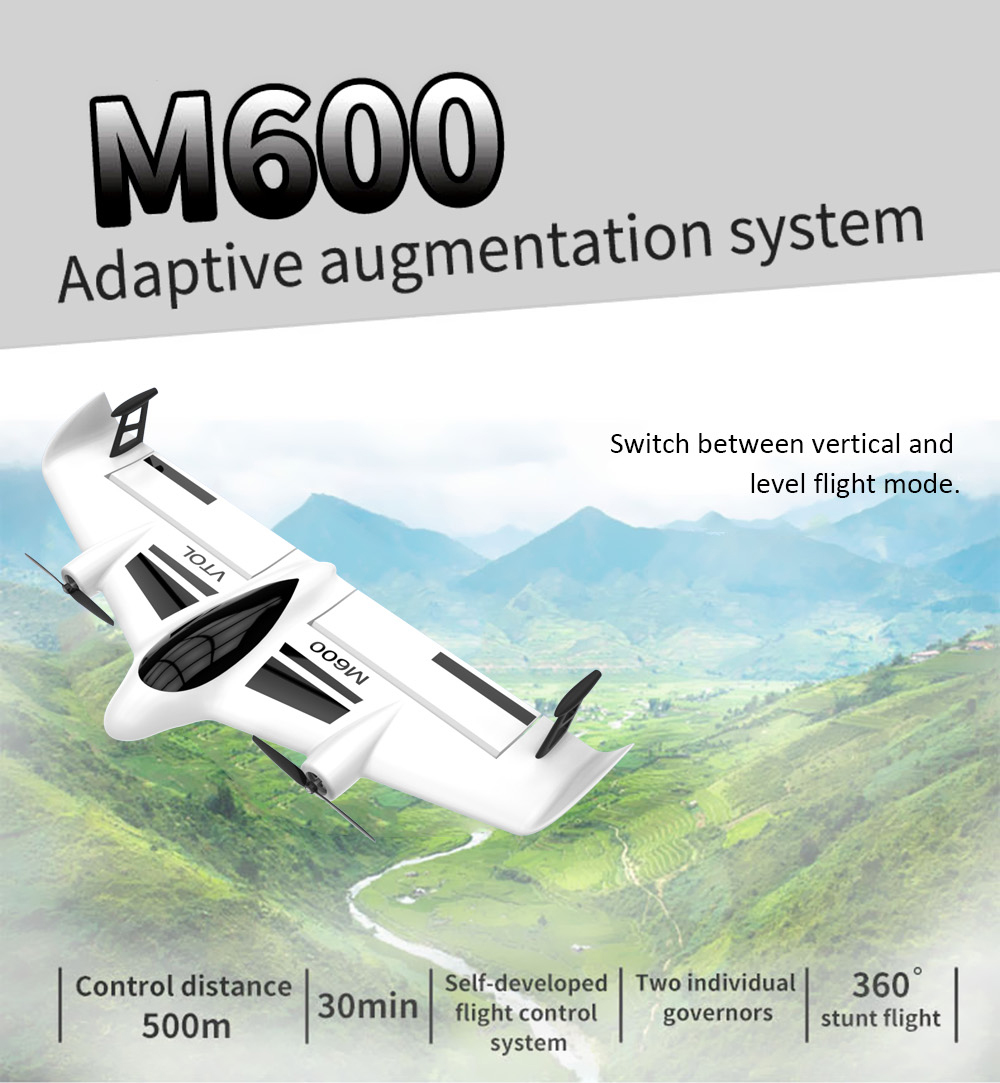 Mirarobot M600 Vtol 24g 6ch 600mm 30mins Rc Airplane 3999 Free Lipo Offers 10 Minute Flight Time Depending On The Modes 720p Epo Rtf Independent Governor Level