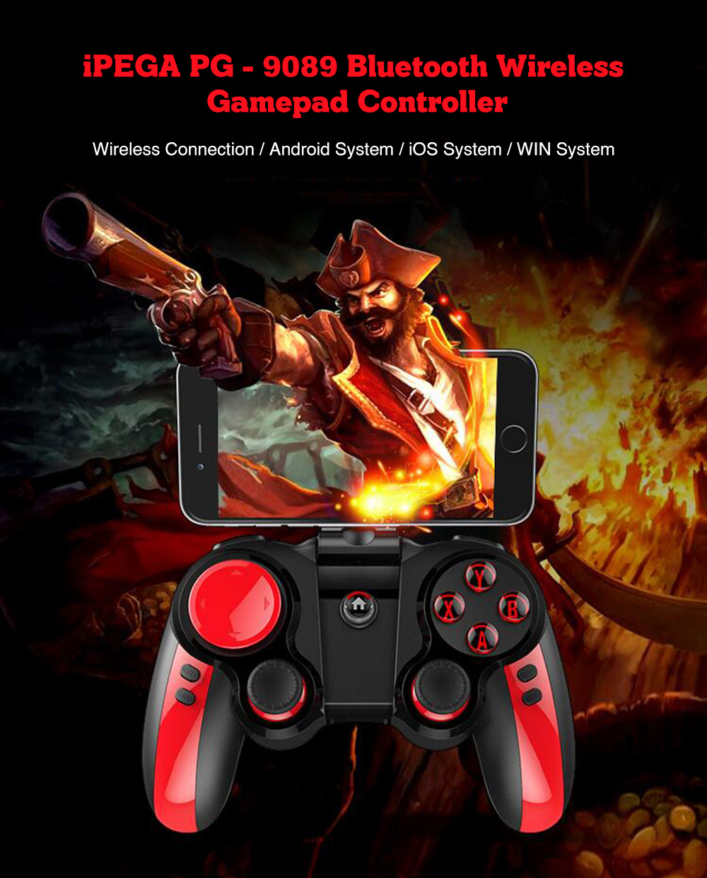 Gearbest Usa Ipega Pg 9089 Bluetooth Wireless Gamepad Controller Stick Android Mobile 9021 For Ios Pc Black