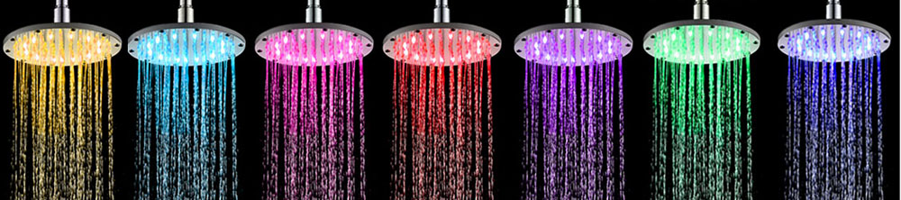 SDH - F4 6 inch Stainless Steel Discoloration Shower Head- Silver Blue / green / red light