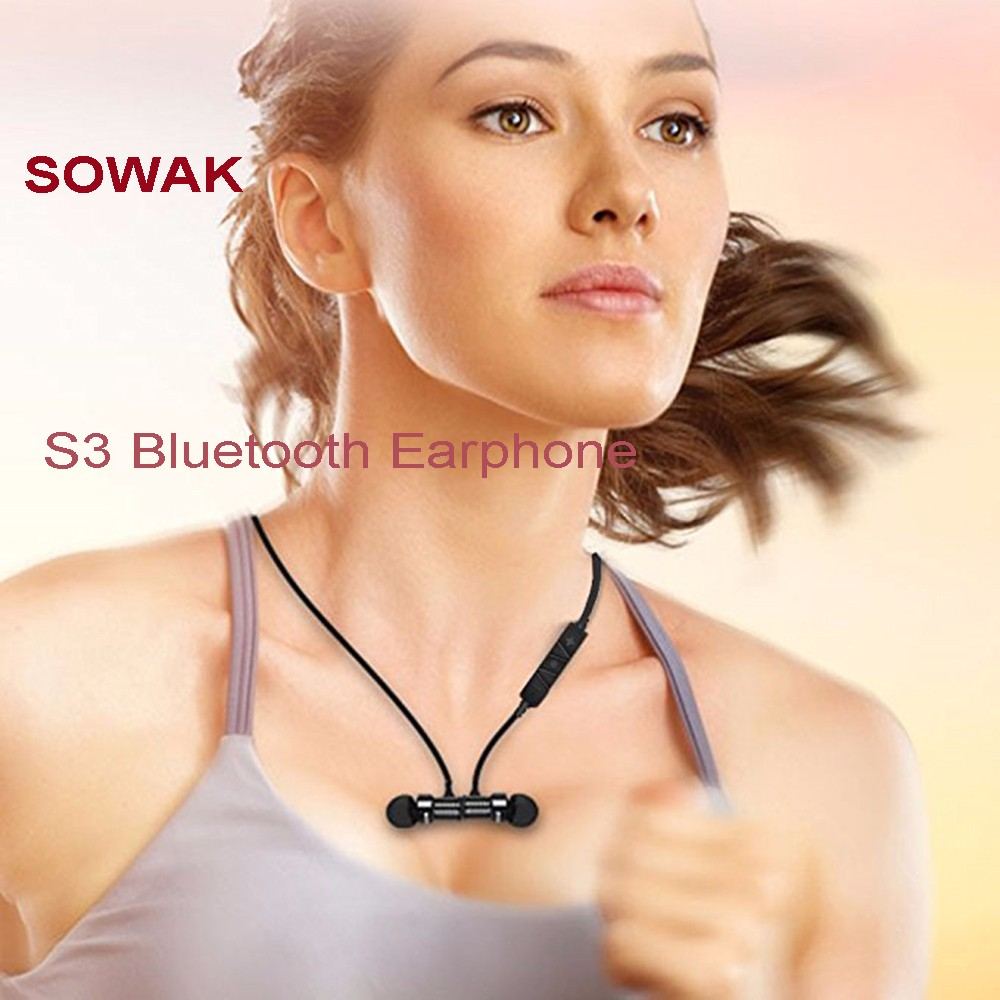 SOWAK S3 Bluetooth Earphone Wireless Noise Cancelling Magnetic Earbuds Stereo Earphones with Mic- Black