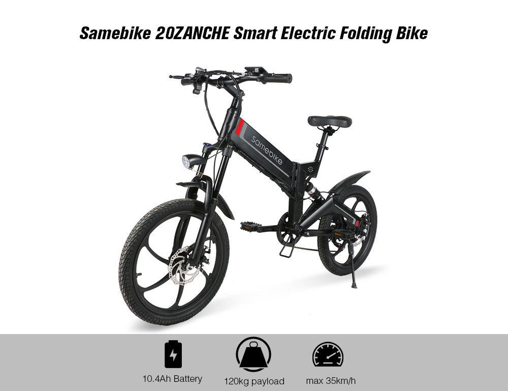 Samebike 20ZANCHE Smart Folding Bike Electric Moped Bicycle 10.4Ah Battery / with Double Disc Brakes- White EU Plug